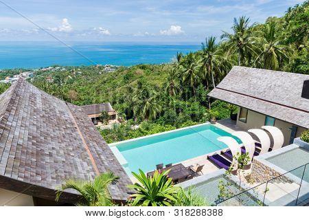 beautiful view of a tropical holiday villa