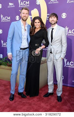 LAS VEGAS - APR 1:  Lady Antebellum arrives at the 2012 Academy of Country Music Awards at MGM Grand Garden Arena on April 1, 2012 in Las Vegas, NV.