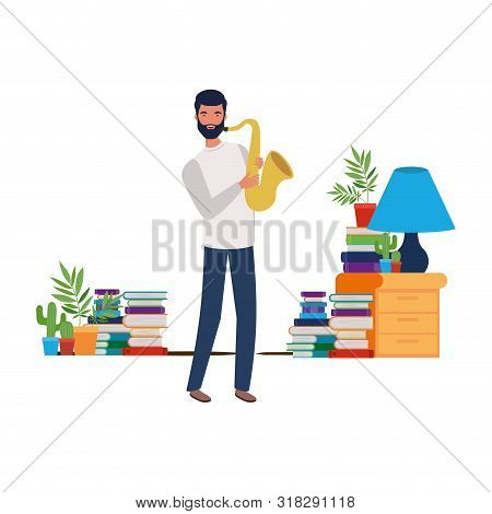 Young Man With Saxophone In Living Room Vector Illustration Design