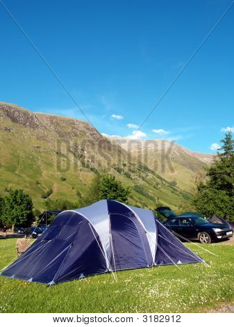 Family Tent With Mountainn Backdrop