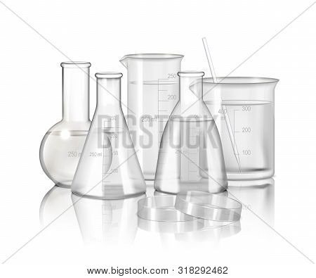 Laboratory Glassware Monochrome Composition  With Flasks And Beakers On Smooth Reflective Surface Re