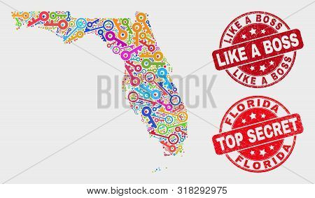 Passkey Florida State Map And Seal Stamps. Red Rounded Top Secret And Like A Boss Scratched Seal Sta