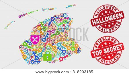 Passkey Friesland Province Map And Seal Stamps. Red Rounded Top Secret And Halloween Grunge Seal Sta