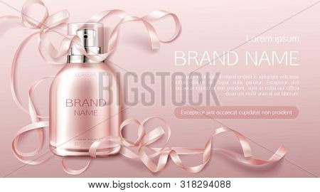 Perfume Bottle, Fragrance Cosmetic Design Banner Mock Up. Glass Sprayer Flask Packaging On Pink Back