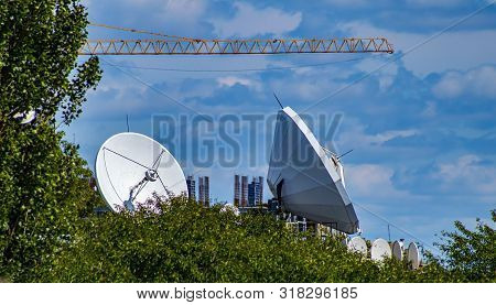 Large Terrestrial Satellite Broadcasting Center Antennas. Technology.
