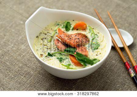 Healthy Coconut Thai Soup Closeup.