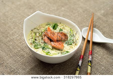 Tasty Thai Coconut Soup With Noodles.