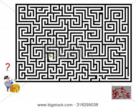 Logical Puzzle Game With Labyrinth For Children And Adults. Help Pirate Find Way Till The Key To Ope