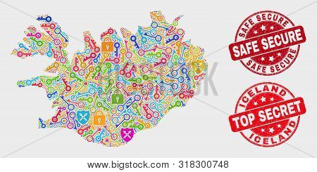 Passkey Iceland Map And Watermarks. Red Rounded Top Secret And Safe Secure Textured Watermarks. Brig