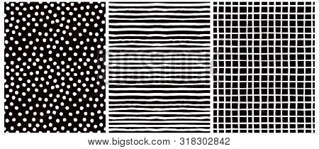 Hand Drawn Childish Style Vector Pattern Set. White Horizontal Stripes On A Black Background. White
