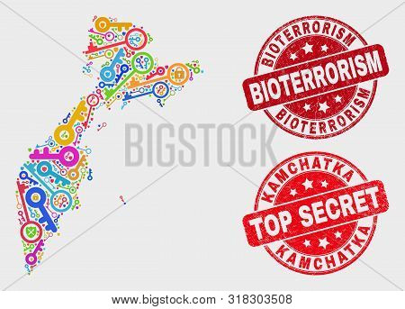 Guard Kamchatka Map And Seal Stamps. Red Round Top Secret And Bioterrorism Textured Seal Stamps. Bri