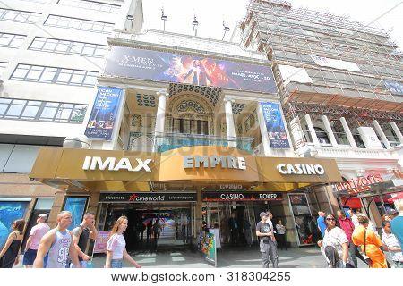 London England - June 1, 2019: Unidentified People Visit Empire Casino Imax Theatre In Leicester Squ