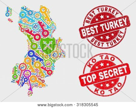 Safety Ko Tao Map And Seal Stamps. Red Rounded Top Secret And Best Turkey Distress Stamps. Colorful