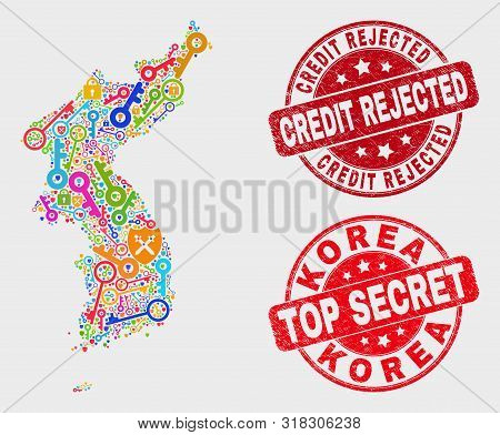 Security Korea Map And Seal Stamps. Red Rounded Top Secret And Credit Rejected Textured Seal Stamps.