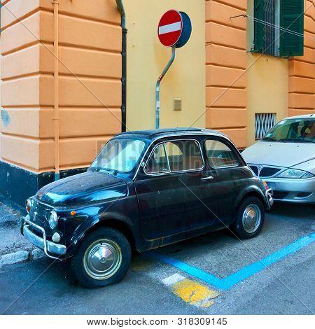 Genoa, Italy - June 30, 2019:  Classic car Fiat 600 in the street in Genoa