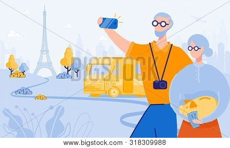 Elderly Man And Woman Take Selfie In Paris. From Poverty To Wealth. Achive Goal. Vector Illustration