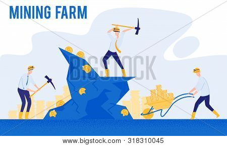 Hard Work And Making Money. Mining Farm. From Poverty To Wealth. Achive Goal. Vector Illustration. W