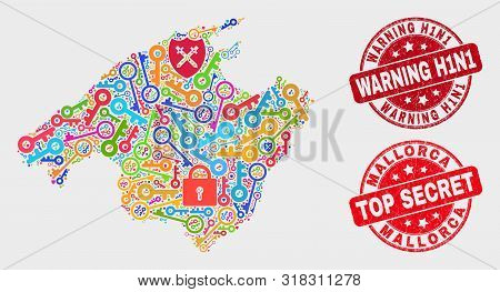 Security Mallorca Map And Watermarks. Red Round Top Secret And Warning H1n1 Grunge Watermarks. Brigh