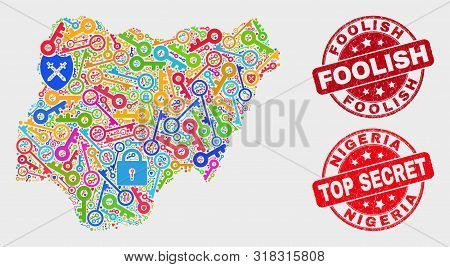 Security Nigeria Map And Seals. Red Rounded Top Secret And Foolish Textured Seals. Colored Nigeria M