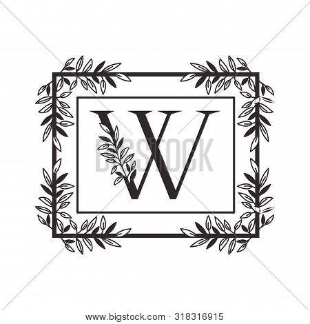 Letter W Of The Alphabet With Vintage Style Frame Vector Illustration Design