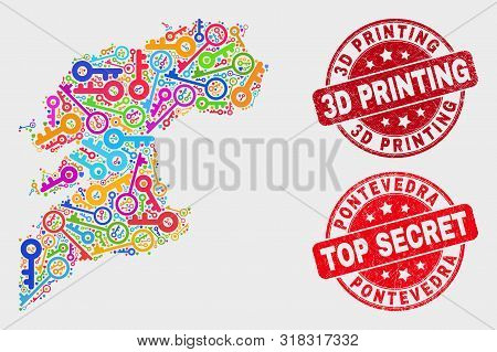 Safeguard Pontevedra Province Map And Stamps. Red Round Top Secret And 3d Printing Scratched Seal St