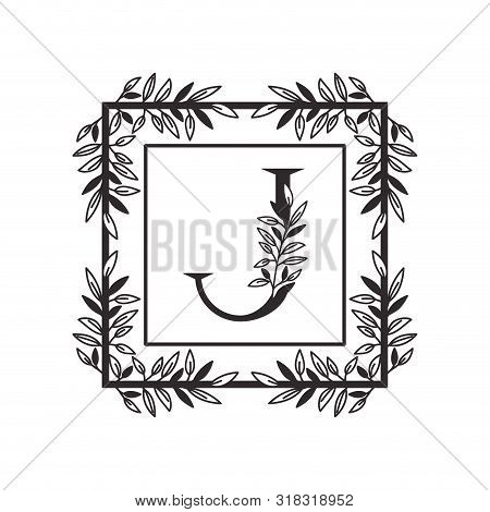 Letter J Of The Alphabet With Vintage Style Frame Vector Illustration Design