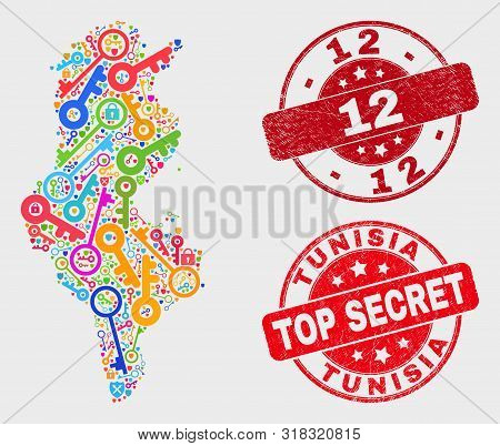 Privacy Tunisia Map And Seal Stamps. Red Rounded Top Secret And 12 Scratched Seal Stamps. Colored Tu