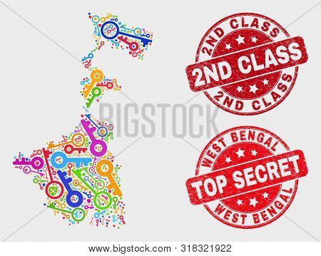Passkey West Bengal State Map And Watermarks. Red Rounded Top Secret And 2nd Class Textured Watermar