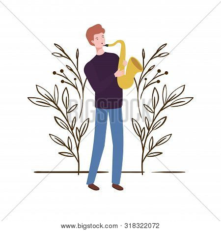 Man With Saxophone And Branches And Leaves In The Background Vector Illustration Design