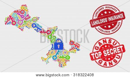 Security Gansu Province Map And Stamps. Red Rounded Top Secret And Landlords Insurance Distress Stam