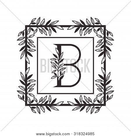 Letter B Of The Alphabet With Vintage Style Frame Vector Illustration Design