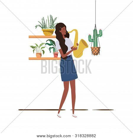 Woman With Saxophone And Houseplants On Macrame Hangers Of Background Vector Illustration Design