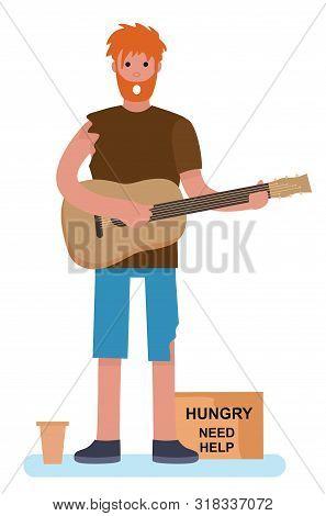 Homeless Man Beggar Playing Guitar Tramp Begging For Help. Homeless. Jobless Concept. Cartoon Style