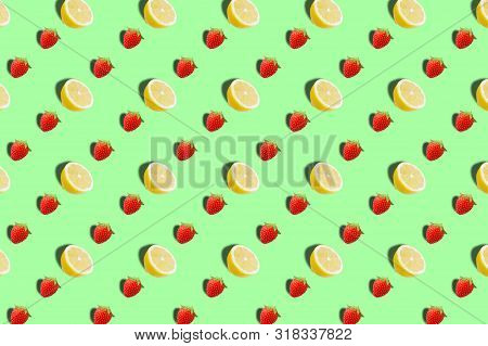 Fruit Pattern Of Fresh Tropical Fruits Background