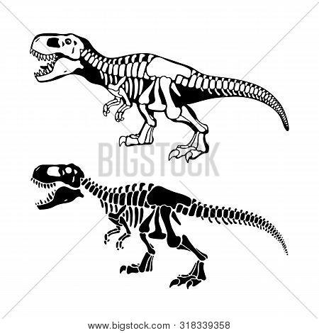 T Rex Dinosaurs Bones Negative Space Silhouette Illustrations Set
