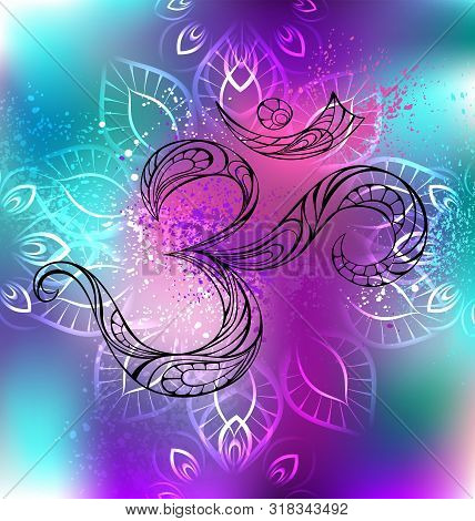 Contour Symbol Om In An Iridescent, Multicolored Background, Shaded Background With Mandala.
