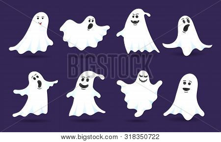 8 Cute Ghost Characters Flat Style Design Vector Illustration Set Isolated On Dark Background. Hallo