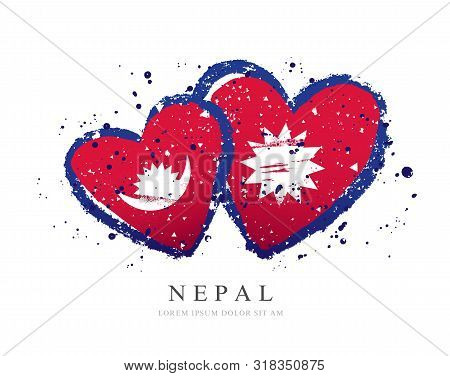 Nepali Flag In The Form Of Three Hearts. Vector Illustration On A White Background. Brush Strokes Ar