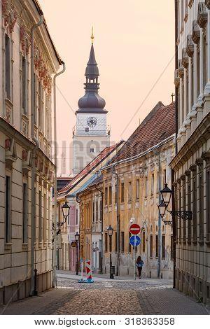 Trnava, Slovakia - April 9, 2019: City Tower In The Old Town Of Trnava, Slovakia.