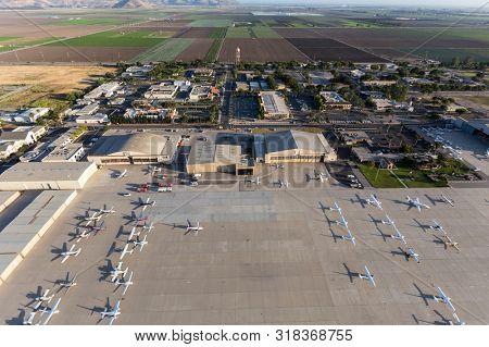 Camarillo, California, USA - on May 27, 2017:  View of tarmac, hangars and airplanes at Camarillo Airport near Los Angeles in Ventura County.