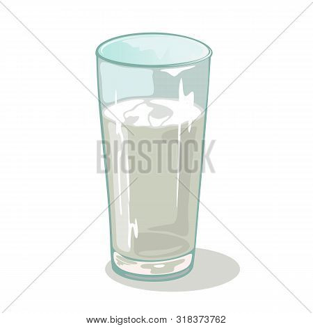 Long Faceted Glass Cup With Water. Drinking Vessels. Transparent Tableware With Chemical Or Medical