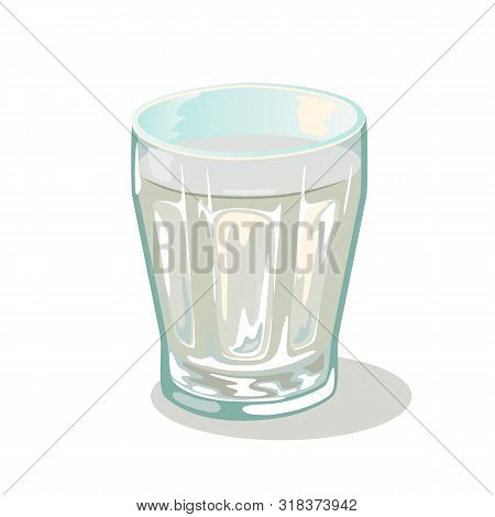 Short Faceted Glass Cup With Water. Drinking Vessels. Small Transparent Tableware With Chemical Or M