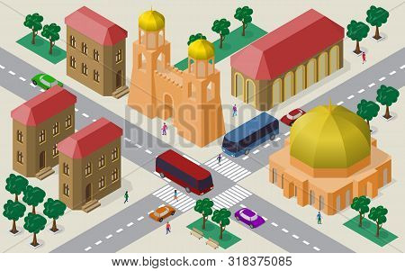 Isometric Cityscape Of Buildings, Streets, Fortress Gate With Towers, Roadway, Cars, Buses And Peopl