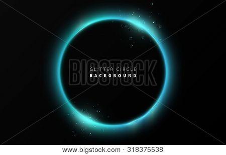 Glitter Tiffany Blue Neon Circle Ring Frame & Sparkle Flash Light Star Shimmer Vector On Black Backg