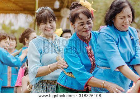 Kanchanaburi, Thailand - August 12 : Thai Culture's Play