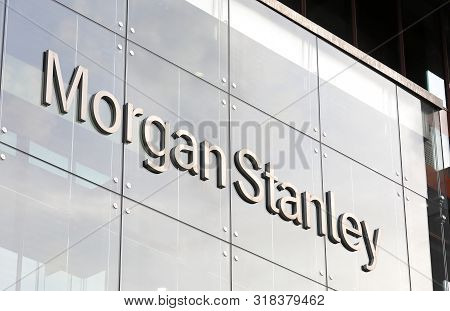 London England - June 2, 2019: Morgan Stanley Company Sign