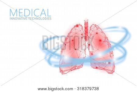 Human Lungs 3d Health Care Recovery Medical Concept. Low Poly Internal Organ Avoid Disease Banner. P
