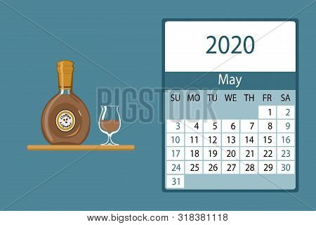 Calendar 2020. May Monthly Calendar Decorated With Cute Liqueur Bottle
