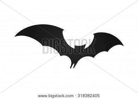Bat In Flight, Wide Wings, Black Silhouette Of Bat On White Background, Vector Illustration. Hallowe