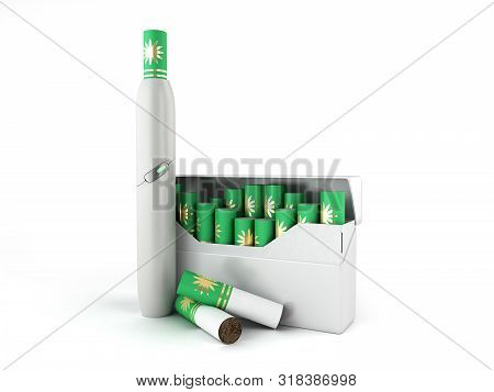 Heat Not Burn Tobacco Product Technology Electronic Cigarette 3d Render On White Background